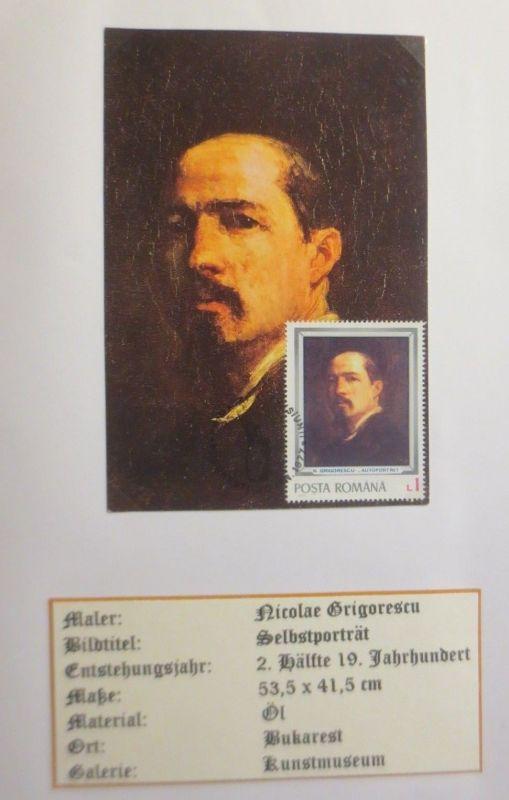 Rumanien , Maximumkarte Nicolae Grigorescu, Selbstporträt 1977 (3861)