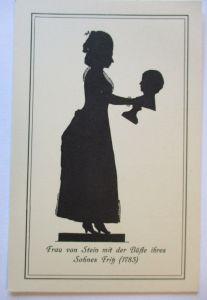Scherenschnitt, Frau von Stein mit der Büste ihres Sohnes Fritz (21949)