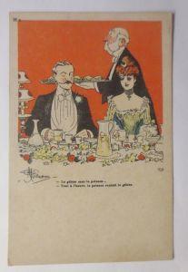 Künstlerkarte, Männer, Frauen, Mode, Essen, 1910, Albert Guillaume ♥  (3255)