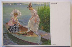 Künstlerkarte Sommertage, Frauen im Boot, sign. Cucuel (60928)
