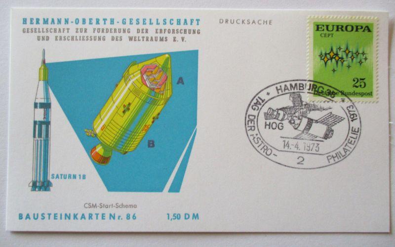 Raumfahrt, Hermann Oberth Gesellschaft, Bausteinkarte 86 (44523)