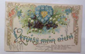 Jugendstil, Blumen, Vergiss mein nicht, Spruch,   1908, Prägekarte ♥ (69757)