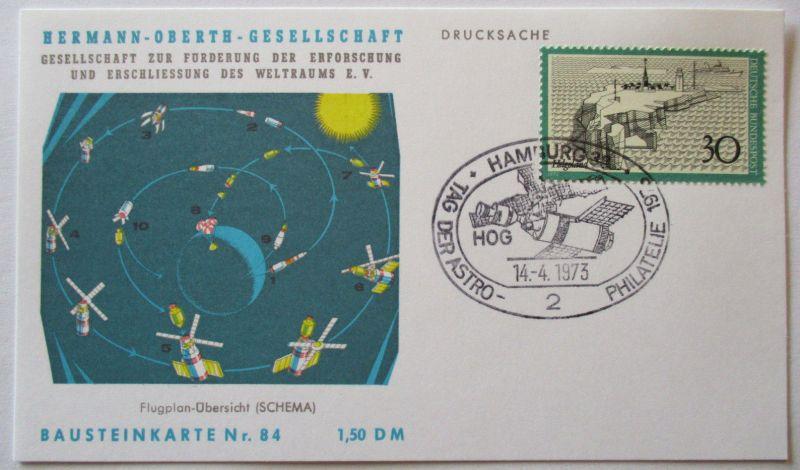 Raumfahrt, Hermann Oberth Gesellschaft, Bausteinkarte 84 (19554)