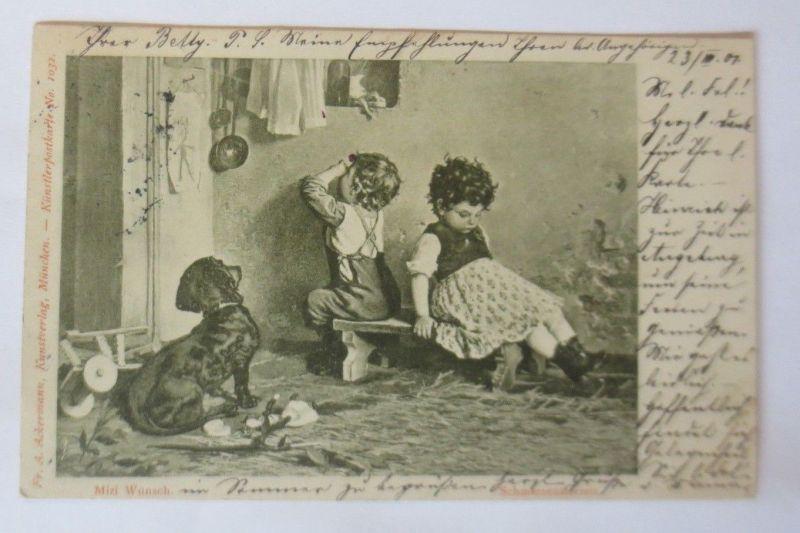 Kinder, Spielzeug, Spielen, Dackel,  1901, Mizi Wunsch  ♥ (68431)
