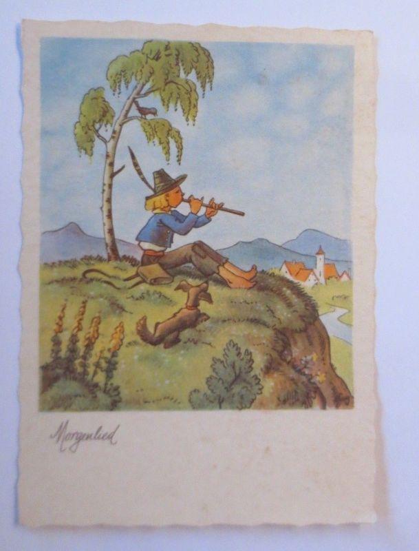Kinder, Flöte, Dackel, Morgenlied,   1950, Hans Glogner Verlag ♥ (68446)