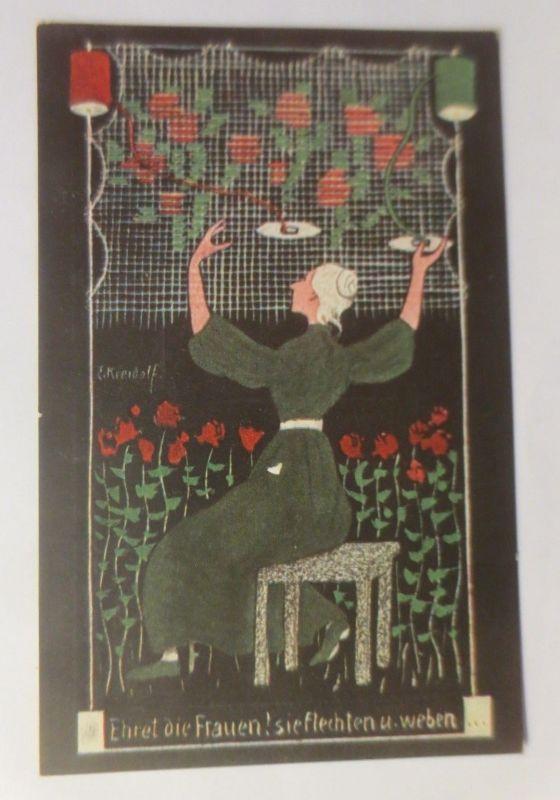 Künstlerkarte, Ehret die Frauen sie flechten u. weben, 1907, Kunstwart ♥ (3104)