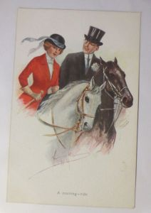 Künstlerkarte, Frauen, Männer, Mode, Pferde, Reiten,1910, signiert ♥ (2971)