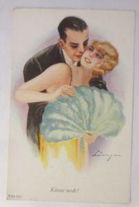 Künstlerkarte, Frauen, Männer, Mode, Küsse mich, 1910, signiert ♥ (2929)