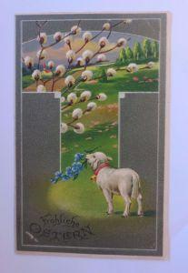 Ostern, Lamm, Weidenkätzchen   1910, Prägekarte  (53301)