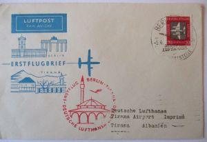 Lufthansa, DDR Erstflugbrief Berlin-Tirana,1960 (34075)