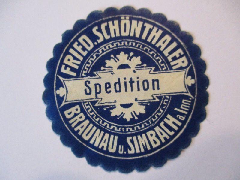 D.Reich, Verschlußmarke Spedition Schönthaler, Braunau und Simbach (49493)