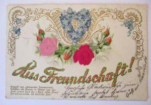 Blumen, Aus Freundschaft, Prägedruck mit Stoff-Applikation, 1905 (49506)