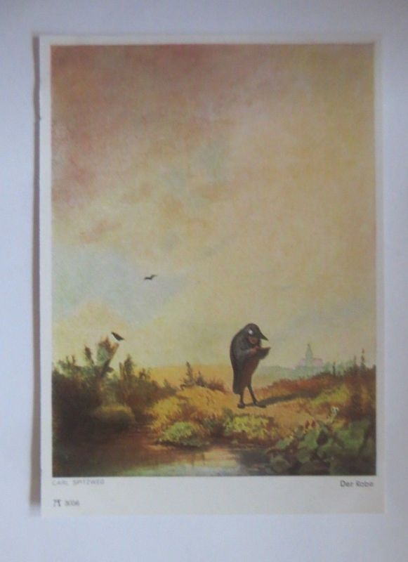 Künstlerkarte, Der Rabe, Serie 295,  1950, Carl Spitzweg ♥ (4837)