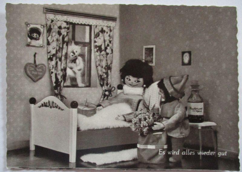 Puppen Figuren Holzpuppen Katze, Es wird alles wieder gut Conny Card 107 (65867)