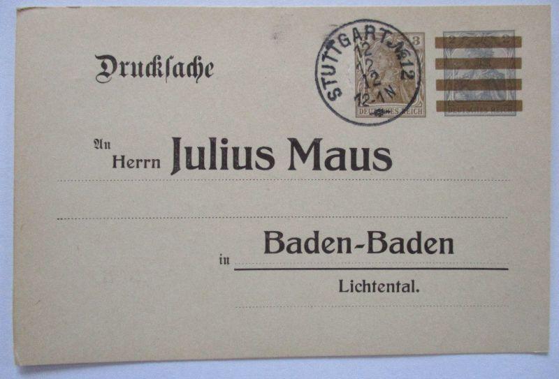 D.Reich, Drucksache Ganzsache Stempelkuriosum 1912 (48803)