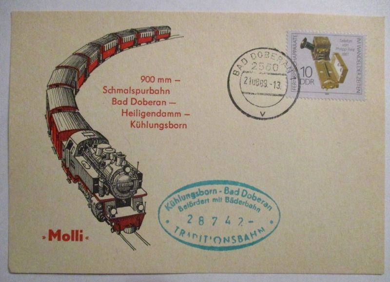 Eisenbahn, Schmalspurbahn Bad Doberan Heiligendamm Kühlungsborn 1989 (39747)