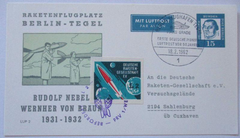 Raketenpost Deutsche Raketengesellschaft Vignette, Ganzsache 1962 (26692)