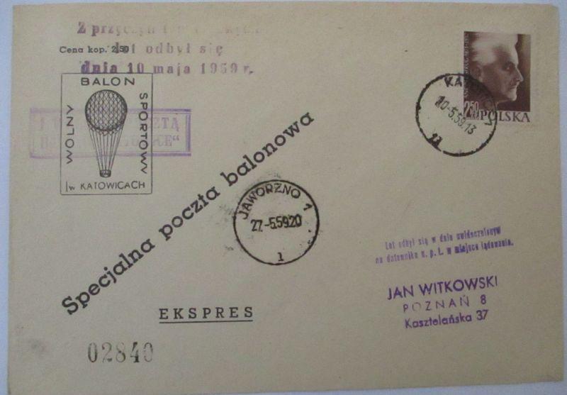 Polen, Ballonpost 1959 (57409)