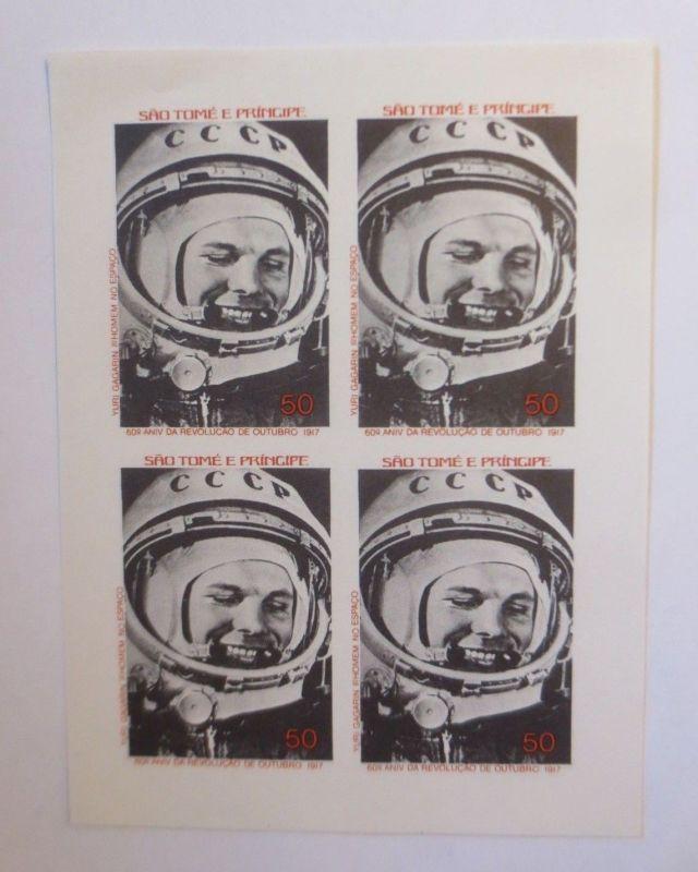 Sao Tome e Principe, Raumfahrt Astronaut 1977, ungezähnter Block (6143)
