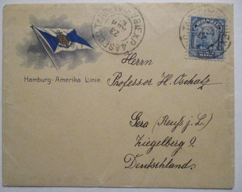 Brasilien, Brief der Hamburg Amerika Linie nach Gera (62295)