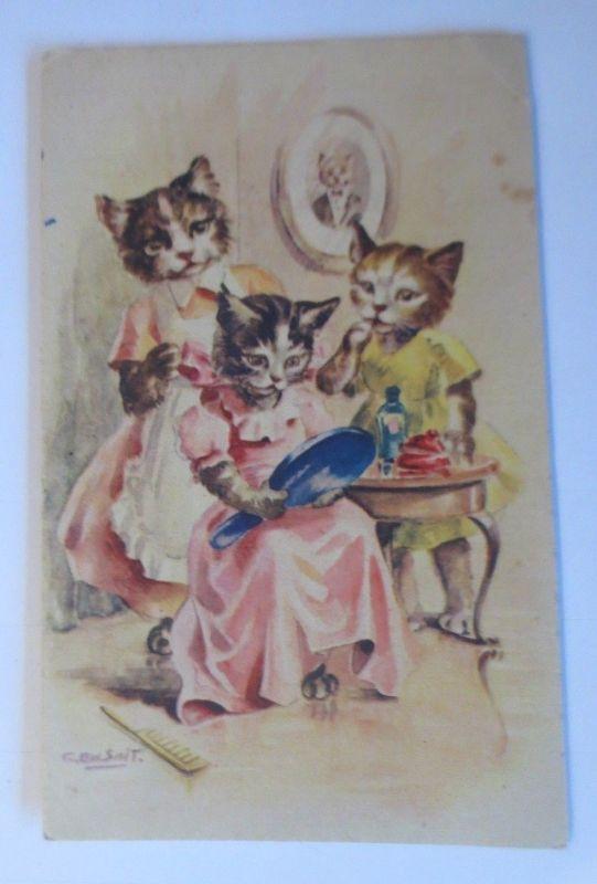 Personifiziert, Katzen, Spiegel, Kamm,    1930  ♥ (39228)
