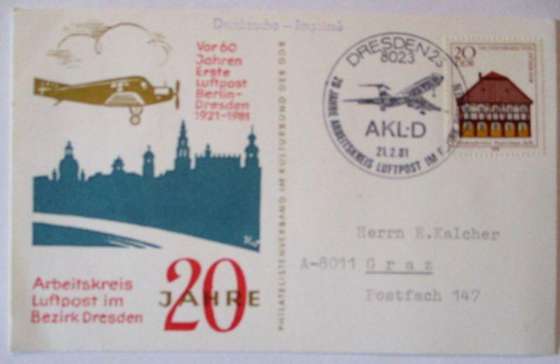 Luftfahrt, 60 Jahre Luftpost Berlin Dresden 1981 (66207)