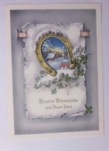 Neujahr, Winter, Haus, Hufeisen, Pilze, 1958 ♥  (62416)
