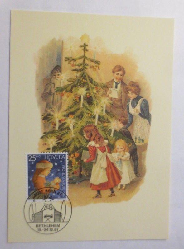 Maximumkarte, Weihnachten, Kinder, Weihnachtsbaum, Bescherung,  1987 ♥ (72241)