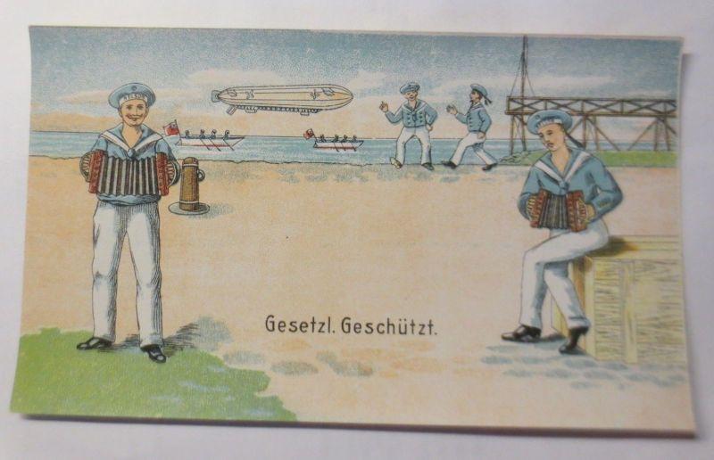 Edikett für Spielzeug Nelson, Zeppelin, Matrose, Akkordeon, 1910 ♥ (72240)
