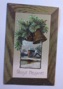 Neujahr, Kirche, Tannenzweig, Glocken,    1908, Prägekarte ♥  (65030)