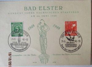 SBZ, Bad Elster, 100 Jahre Staatsbad, Sonderkarte 1948 (20314)