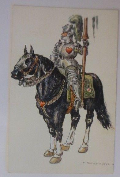 Ritter mit Pferd,  1910, signiert ♥ (42647)