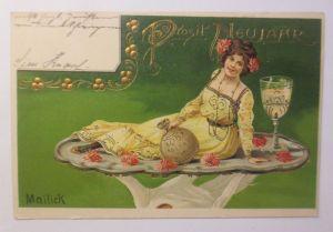 Neujahr, Frauen, Mode, Sekt, Münzen,  1903, Golddruck, Mailick  ♥ (72232)