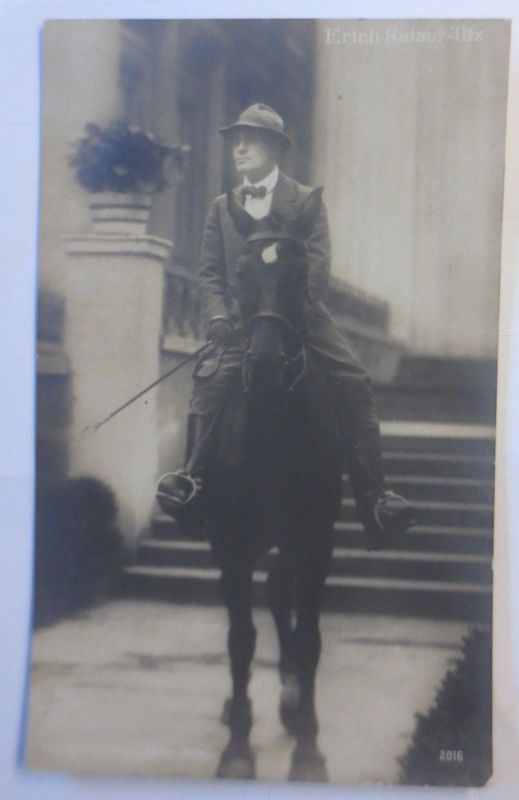 Schauspieler,  Erich Kaiser Titz mit Pferd,  1908, Fotokarte ♥ (72336)