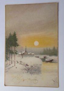 Weihnachten, Winter, Dorf, Mond,  1918 ♥ (38888)