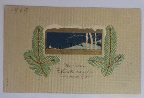 Weihnachten, Winterlandschaft, Tannenzweige, 1909, Prägekarte ♥ (72213)