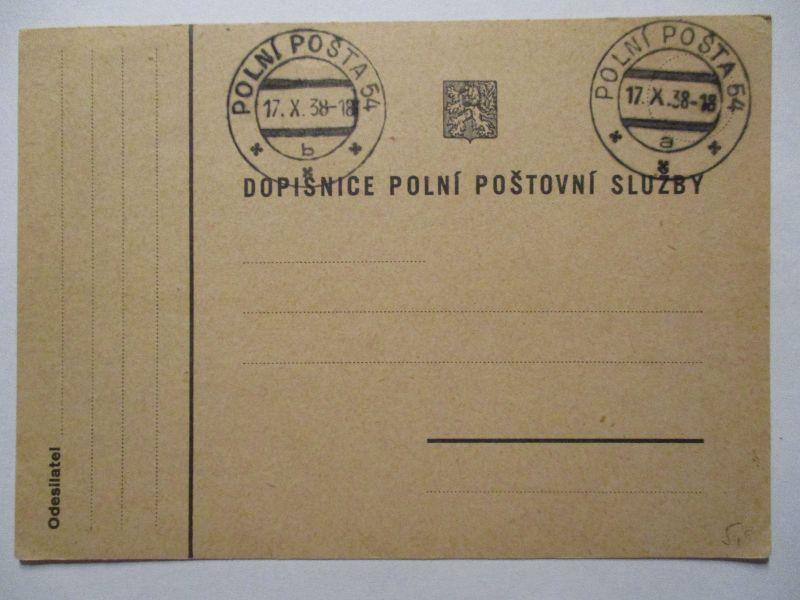Sudetenland Besetzung, Feldpost Tschechoslowakei (blanco) 1938 (65606)