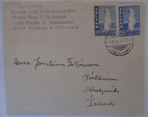 Island, Nr. 217 und 229 auf Erstflugbrief 1947 (55839)