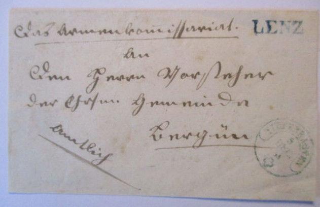 Schweiz Vorphila aus Lenz mit Postkurier (Vorderseite) (40253)