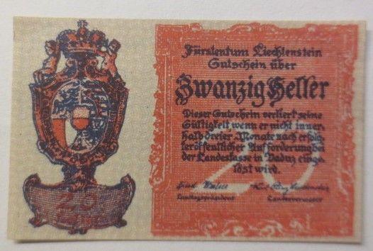 Notgeld Fürstentum Liechtenstein 20 Heller  1920 ♥ (8816)