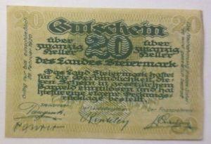 Notgeld, Österreich 20 Heller Des Landes Steiermark  1920 ♥ (8699)