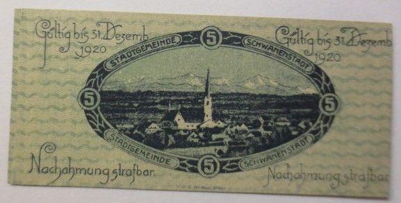 Notgeld, Österreich 5 Heller Stadtgemeinde Schwanenstadt  1920 ♥ (8645)