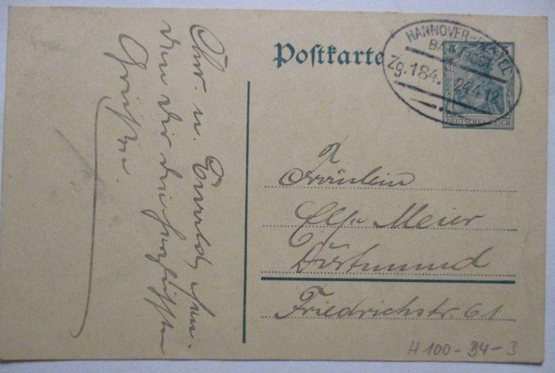 D.Reich Bahnpost Hannover Boxtel Zug 184, Ganzsache 1912 (60416)