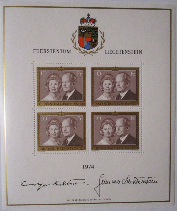 Liechtenstein Nr. 614 Kleinbogen 1974 postfrisch