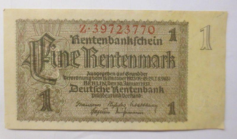 Deutsche Rentenbank,  1 Rentenmark,   Z. 39723770  Jahr  1932 ♥  (72283)