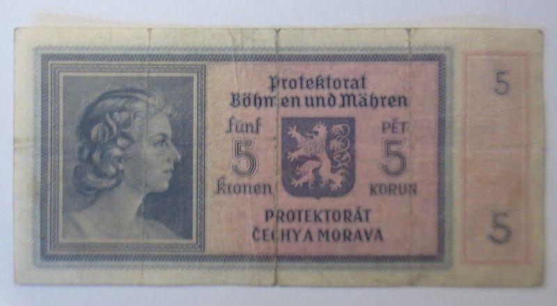 Protektorat Böhmen und Mähren, 5 Kronen, HO21,   Jahr  1944 ♥  (72281)