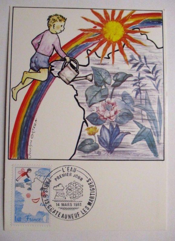 Frankreich, Maximumkarte von 1981, Kinder, Blumen (3833)