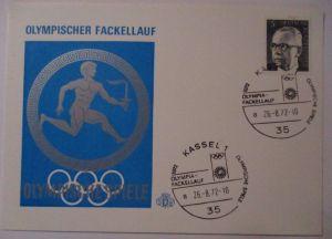Olympia 1972, Fackellauf, SST Kassel Sonderkarte (5922)