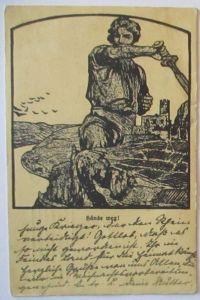 Hände Weg , Deutscher mit Schwert , Patriotik 1915 (11232)