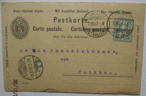 Schweiz, Doppel-Ganzsache 1907 aus Langgass St. Gallen (22601)